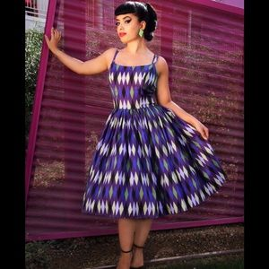 Pinup Girl Clothing Jenny Dress Harlequin 💜💚